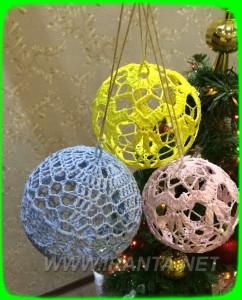 вязаные ажурные новогодние елочные шары крючком