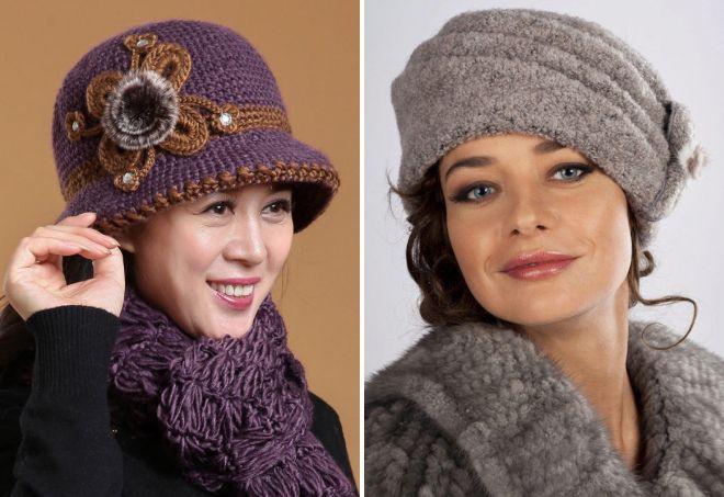 модные вязаные шапки для пожилых женщин