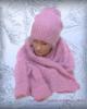 Зимний комплект «Розовое облако»: шапочка, варежки и палантин-манишка