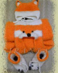 Теплый комплект для малыша «Лисенок»: комбинезон с капюшоном, шапочка и пинетки