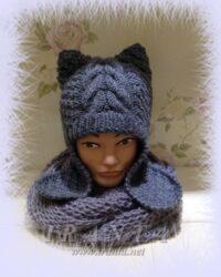 Котокомплект «Зимний»: двойная шапочка с ушками и шарф-снуд