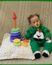 Теплый костюм для малыша «Бамбуковая чаща»: свитер-реглан с кармашком-аппликацией и штанишки с ножками-«носочками»