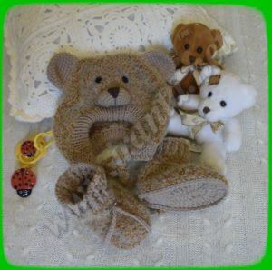 """Комплект для малыша """"Мишутка"""": шапочка-чепчик и пинетки-ботиночки"""