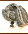 Теплый дуэт «Кофе со сливками»: двойная шапочка-бини и шарф-снуд