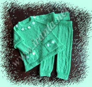 "Костюм для девочки ""Иней на траве"": туника с карманами и штанишки-леггинсы на резинке"