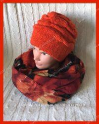 Двойная шапочка-клоке «Оранжевая зима»
