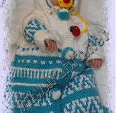 """Теплый конверт для новорожденного """"Зимний жаккард"""" на молнии, с капюшоном и рукавами"""