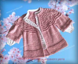 """Комплект для девочки """"Розовые лепестки"""": кардиган и шапочка-бини"""