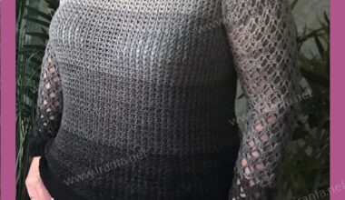 """Легкий джемпер """"Кредо"""" с ажурными рукавами и эффектом градиента"""