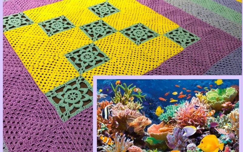 """Хлопковый плед-одеяло """"В коралловых рифах"""""""
