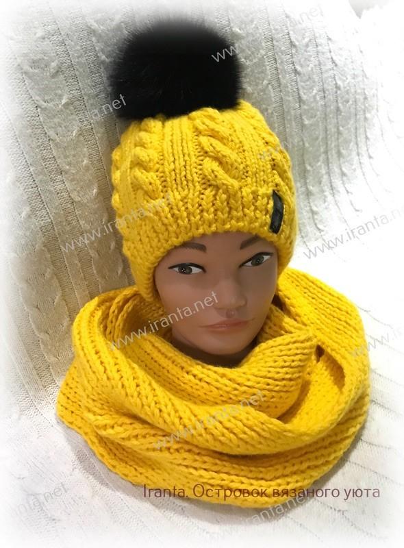 """Зимний комплект """"Мороз и солнце"""": двойная шапочка и снуд"""