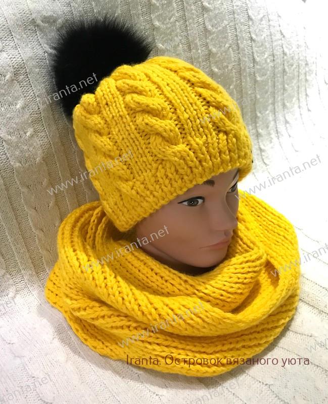 """Зимний комплект """"Мороз и солнце"""": шапочка с подкладкой и шарф-снуд"""