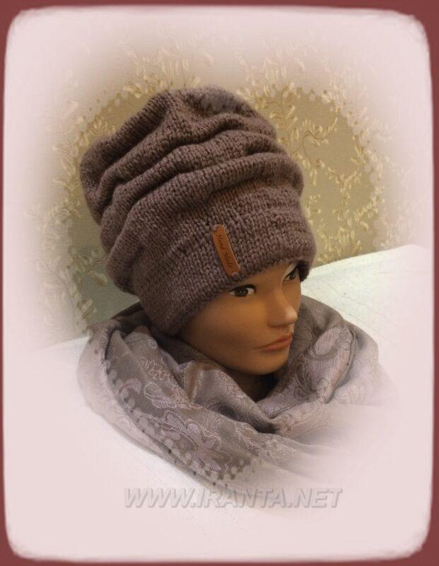 """Зимний комплект """"Шоколад и мята"""": двойная шапочка и снуд"""