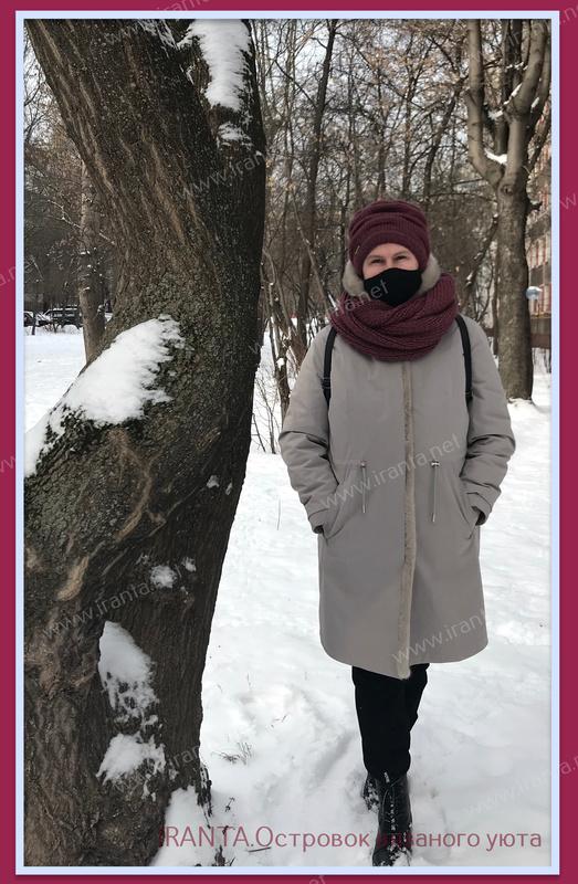 """Зимний комплект """"Ягодный пай"""": двойная шапочка-клоке и снуд"""